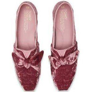 Toms Faded Rose Bow Velvet Slip-On Flats